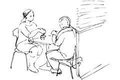 Vector sketch of man and woman at a table in a cafe. Black and white vector sketch of man and woman at a table in a cafe Stock Photos