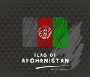 Flag of Afghanistan, vector pen illustration on black background. Vector sketch map of Afghanistan with flag, hand drawn chalk illustration. Grunge design Royalty Free Stock Photos