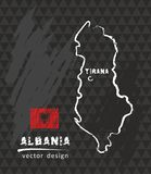 Albania map, vector drawing on blackboard. Vector sketch map of Albania with flag, hand drawn chalk illustration. Grunge design Royalty Free Stock Image