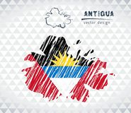 Antigua vector map with flag inside isolated on a white background. Sketch chalk hand drawn illustration stock illustration