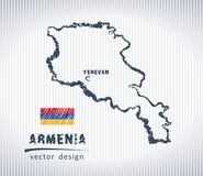 Armenia vector chalk drawing map isolated on a white background. Vector sketch map of Armenia with flag, hand drawn chalk illustration. Grunge design Stock Photography