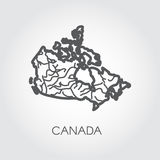 Vector sketch map of Canada in line style. Graphic icon of country. Vector illustration Royalty Free Stock Photo