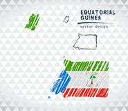 Equatorial Guinea vector map with flag inside isolated on a white background. Sketch chalk hand drawn illustration. Vector sketch map of Equatorial Guinea with stock illustration