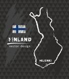 Map of Finland, Chalk sketch vector illustration. Vector sketch map of Finland with flag, hand drawn chalk illustration. Grunge design Stock Photo