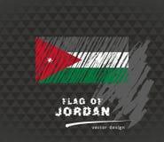Flag of Jordan, vector pen illustration on black background. Vector sketch map of Jordan with flag, hand drawn chalk illustration. Grunge design Royalty Free Stock Photo