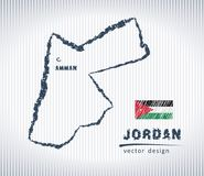 Jordan national vector drawing map on white background. Vector sketch map of Jordan with flag, hand drawn chalk illustration. Grunge design Royalty Free Stock Photos