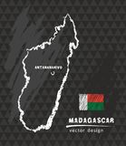 Madagascar map, vector pen drawing on black background. Vector sketch map of the Madagascar with flag, hand drawn chalk illustration Royalty Free Stock Image