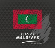 Maldives flag, vector sketch hand drawn illustration on dark grunge background. Vector sketch map of Maldives with flag, hand drawn chalk illustration. Grunge Royalty Free Stock Image