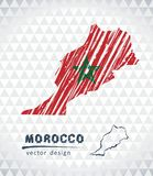 Map of Morocco with hand drawn sketch pen map inside. Vector illustration. Vector sketch map of the Morocco with flag, hand drawn chalk illustration Vector Illustration