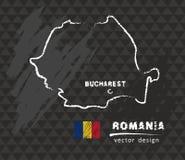 Map of Romania, Chalk sketch vector illustration. Vector sketch map of Romania with flag, hand drawn chalk illustration. Grunge design stock illustration