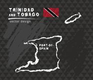 Trinidad and Tobago map, vector pen drawing on black background stock illustration
