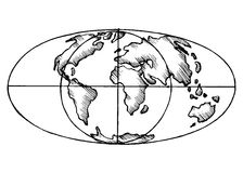 Vector sketch map  world. Flat Globe. Stock Images