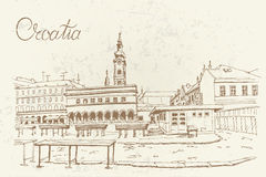 Vector sketch of market in Zagreb Royalty Free Stock Images