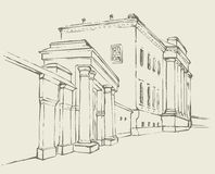 Vector sketch. Massive building with a colonnade Royalty Free Stock Image
