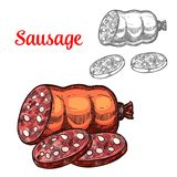 Vector sketch meat sausage farm product icon. Sausage sketch icon for meat delicatessen food or butcher shop farm product. Vector salami, sliced pepperoni Royalty Free Stock Image