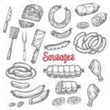 Vector sketch meat sausage products icons set. Meat and sausages delicatessen sketch icons. Vector isolated pepperoni, cervelat or salami sausage bunch, curry Stock Images