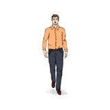 Vector Sketch Men Model in Long Sleeve Shirt and Trousers. Business dress code Royalty Free Stock Photos