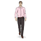 Vector Sketch Men Model in Long Sleeve Shirt and Trousers. Business dress code Stock Photography
