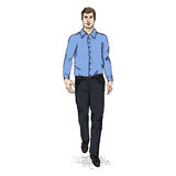 Vector Sketch Men Model in Long Sleeve Shirt and Trousers. Business dress code Royalty Free Stock Images