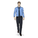 Vector Sketch Men Model in Shirt and Tie. Business dress code Royalty Free Stock Image