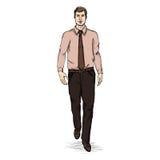 Vector Sketch Men Model in Shirt and Tie. Business dress code Stock Image