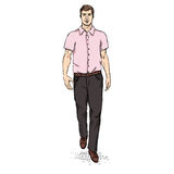 Vector Sketch Men Model in Short Sleeve Shirt. Business dress code Royalty Free Stock Photos