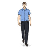 Vector Sketch Men Model in Short Sleeve Shirt. Business dress code Stock Photography