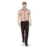 Vector Sketch Men Model in Short Sleeve Shirt. Business dress code Stock Photos