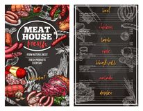 Vector sketch menu for meat house delicatessen Stock Photo