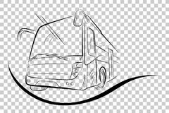 Sketch of Modern Big Bus, Low Angle Perspective, at Transparent Effect Background. Vector Sketch of Modern Big Bus, Low Angle Perspective Royalty Free Stock Image