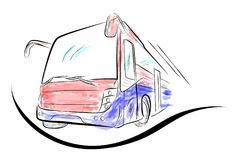 Sketch of Modern Big Bus with Red and Blue Water Color Low Angle Perspective. Vector Sketch of Modern Big Bus, Low Angle Perspective Stock Images