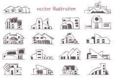 Vector sketch of modern house stock illustration