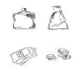 Vector, sketch, money, icons. Vector illustration of money saving icons Stock Photo