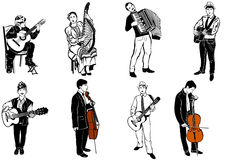 Vector sketch of musicians playing various musical instruments Stock Photography