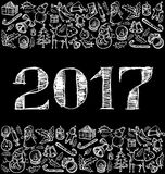 Vector sketch numbers 2017. And Christmas, and New Year objects Stock Image