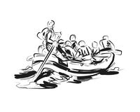Free Vector Sketch Of People On A Raft Stock Images - 120485034