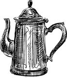 Coffee pot. Vector sketch of the old coffee pot royalty free illustration