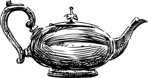 Ancient teapot. Vector sketch of the old teapot royalty free illustration