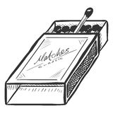 Vector Sketch Open Matchbox with Matches Royalty Free Stock Photos