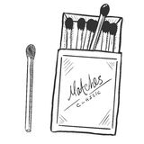 Vector Sketch Open Matchbox with Matches Royalty Free Stock Photography