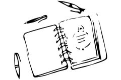 Vector sketch of an open notebook and ballpoint pens Royalty Free Stock Image