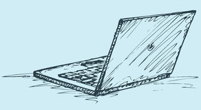 Vector sketch. Opened laptop. Vector monochrome freehand sketchy ink linear drawn backdrop in doodle style pen on paper with space for text. Opened laptop. Rear Stock Image