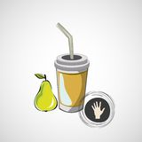 Vector sketch paper cup with straw and pear Stock Images