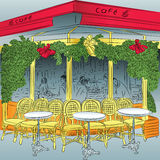 Vector sketch of the Parisian cafe Royalty Free Stock Image