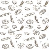 Vector sketch pattern of bakery bread and cereals royalty free illustration
