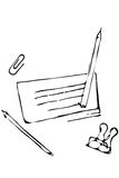 Vector sketch pencil office supplies paper clip paper clips Royalty Free Stock Photos