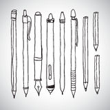 Vector sketch of pencils and pens Stock Photos