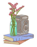 Vector sketch of photo camera book and flower - color water Stock Images