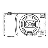 Vector Sketch Photo Camera. Front View. Stock Image