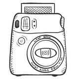 Vector Sketch Photo Camera. Front View. Stock Photography